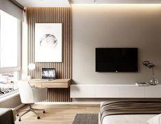 23 Wonderful Modern Apartment Design Ideas — Home Decor Ideas Living Room Tv Unit, Interior Design Living Room, Living Room Designs, Design Interiors, Bedroom Designs, Modern Interior, Interior Livingroom, Tv In Bedroom, Modern Bedroom
