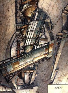 Drawing from Underground Berlin by Lebbeus Woods, Amazing rendering techniques using colour and texture Paper Architecture, Architecture Graphics, Chinese Architecture, Architecture Drawings, Concept Architecture, Gothic Architecture, Futuristic Architecture, Classical Architecture, Architecture Diagrams