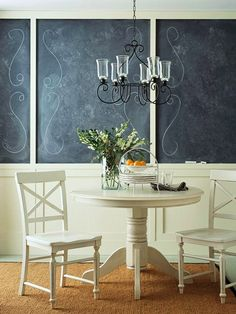 your own little sidewalk cafe...pour the coffee and break out the pastry!  chalkboard paint wall bhg