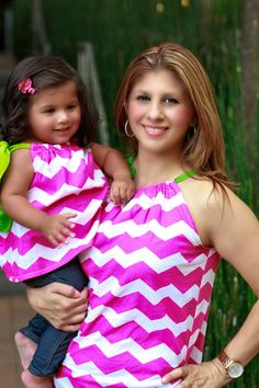 MOMMY ME SHIRT set - Mommy and Me pillowcase tops - Hot pink Chevron and lime green