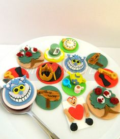 Edible Cupcake toppers Alice in Wonderland Mad Hatters Hat - Wonderland Fondant cupcake decorations (D06) (3 pieces). $10.00, via Etsy.