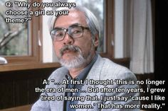 "Hayao Miyazaki, creator of Princess Mononoke , Spirited Away , and many other wonderful films. | 11 Filmmakers Who Expertly Answered The Question ""Why Do You Write Strong Female Characters?"""