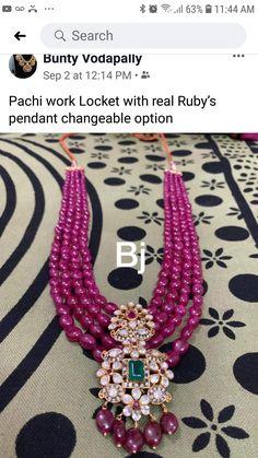 Beaded Jewelry Designs, Gold Jewellery Design, Bead Jewellery, Gold Wedding Jewelry, Gold Jewelry Simple, Ruby Jewelry, Ruby Beads, Jewels, Siri