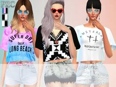 The Sims Resource: Lover Set Tops, Shorts and Nails by Pinkzombiecupcake