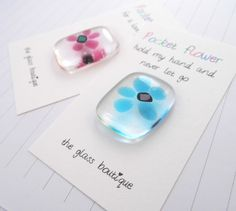 mothers day fused glass pocket flowers £4.00
