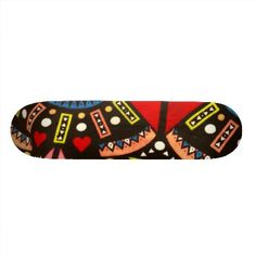 Trendy Colorful Red Black Abstract Tribal Pattern Skateboard Deck