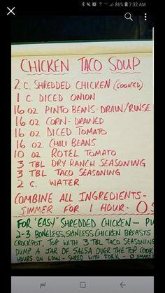 Weight Watchers Soup, Weight Watchers Chicken, Weight Watcher Dinners, Weight Watchers Smart Points, Chicken Taco Soup, Chicken Tacos, Easy Taco Soup, Ww Recipes, Skinny Recipes
