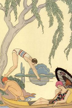 The Four Seasons  Le Printemps / L'Eau / L'Automne / L'Hiver  By George Barbier  1925