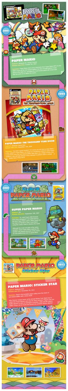 This Infographic comes courtesy of Nintendo UK. Paper Mario: Sticker Star is just one of many Super Mario games available on the Nintendo Super Mario Rpg, Super Mario Games, Mario And Luigi, Mario Bros, Video Game Art, Video Games, Otaku, 10 Years After, Paper Mario