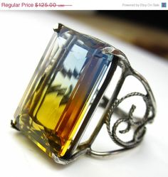 Orange and Blue Ametrine Ring