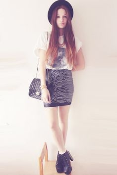 Cross Sign Moon Shirt, Lovely Sally Joy Division Skirt, Vj Style Spiked Heels, Marc B. Bag, Forever21 Studded Necklace