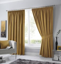 Curtains with ribbon- Gardinen mit Kräuselband Thermo curtain set Coleraine with ruffles, blickdichtWayfair. Wide Curtains, Yellow Curtains, Pleated Curtains, Hanging Curtains, Blackout Curtains, Hub Home, Made To Measure Blinds, Living Room Drapes, Interior And Exterior