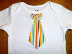 Striped tie onesie for those cute little boys!
