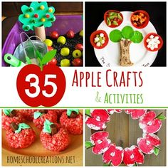 35 apple crafts, activities, printables, and science experiments for preschool and kindergarten Fall Preschool Activities, Apple Activities, Preschool Crafts, Crafts For Kids, Thanksgiving Crafts, Fall Crafts, Harvest Crafts, Apple Crafts, Apple Unit