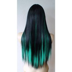 Black Emerald green wig. Long Straight hair with shorter bangs wig. ($98) ❤ liked on Polyvore featuring beauty products, haircare, hair styling tools, hair, wigs, hairstyles and hair styles