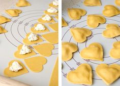 Homemade ravioli cut with heart cookie cutters! Smart.