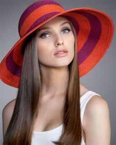 purple and orange beach hat