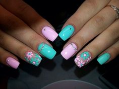 Floral nails and flower nail art inspirations for this spring Easter Nail Designs, Easter Nail Art, Nail Designs Spring, Gel Nail Designs, Nails Design, Spring Nail Art, Spring Nails, Fancy Nails, Pretty Nails
