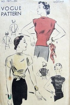 1930s  EASY TO MAKE BLOUSE PATTERN TUCK IN or OVERBLOUSE ONLY 3 PIECES VOGUE 7871