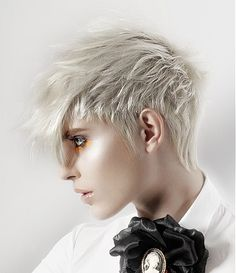 A short blonde straight coloured spikey platinum womens hairstyle by Toni Kalin