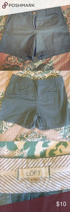 """Blue LOFT Riviera Shorts, 6"""" inseam, size 8 LOFT Riviera shorts, size 8. Color is a muted blue. Approx 6"""" inseam. Waist and thigh are generous cut. Pockets at sides and back. Great condition! LOFT Shorts"""