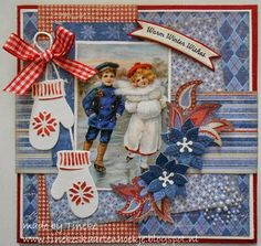 Tineke's kaartenhoekje: Warm winter wishes Homemade Christmas Cards, Christmas Items, 3d Cards, Christmas Scrapbook, Marianne Design, Graphic 45, Vintage Cards, Scrapbook Pages, Cardmaking
