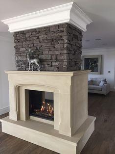Natural yorkstone fireplace , double sided with wrap around chimney breast Sandstone Fireplace, Stone Fireplace Surround, Natural Stone Fireplaces, Rock Fireplaces, Fireplace Showroom, Chimney Breast, Stone Masonry, Big Box Store, Fireplace Inserts