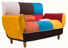 Merax Adjustable Futon Sofa Bed Loveseat Home Furniture Sofa with Cotton Linen Fabric, Multicolor | Smart Pinner