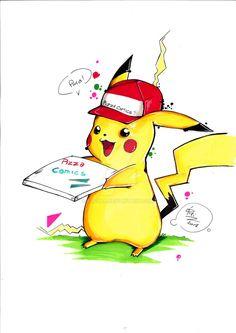 Pikachu fattorino per Pizza Comics by eREIina.deviantart.com on @DeviantArt