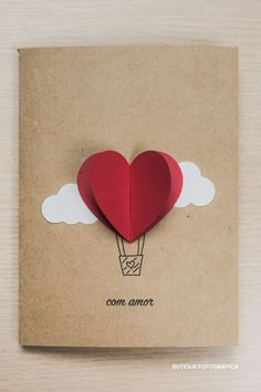 Creative Birthday Cards, Handmade Birthday Cards, Diy Birthday, Diy Gifts For Boyfriend, Cards For Boyfriend, Diy Crafts For Gifts, Paper Crafts, Birthday Card Drawing, Heart Balloons