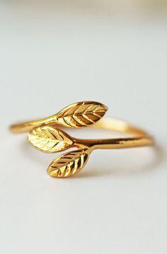 Gold Leaves Adjustable Ring Olive Leaves Dainty Modern Feminine