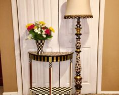 Whimsical Painted Floor Lamp, Painted Lamp, Floor Lamp, leopard Painted Lamp hand painted home decor Painted Wood Letters, Painted Lamp, Painted Frames, Painting Lamps, Painting On Wood, Terra Cotta, Hand Painted Furniture, Home Furniture, Furniture Ideas