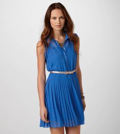 PLEATED CHIFFON SHIRTDRESS  @American Eagle Outfitters