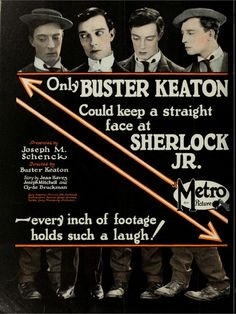 """"""", silent comedy short-film by Buster Keaton (USA, Cinema Film, Film Movie, Buster Keaton Movies, Sherlock Poster, Comedy Short Films, Metro Pictures, Breaking The Fourth Wall, Silent Film, Silent Comedy"""