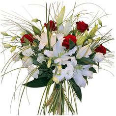 Bouquet mi-tiges est composé de lys blancs, roses rouges, lisianthus blancs et beergras. #bouquet