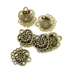 * Penny Deals * - Qty:5PCS Antique Bronze Jewelry Making Charms Findings Supplies Craft Ancient Repair Lots DIY Antique Pendant Vintage Z71958 Eight Rings Heart-shaped Connector ** Check out this great product.
