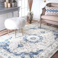 nuLOOM Traditional Persian Vintage Blue Rug (3' x 5') | Overstock.com Shopping - The Best Deals on 3x5 - 4x6 Rugs
