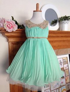 Wholesale real pictures !!!2014 Cheap Mint Flower Girl Dresses Special Occasion Dress Gold Sequins Crew Belt Zipper Chiffon and Tulle Pageant Dresses, Free shipping, $51.44/Piece | DHgate Mobile