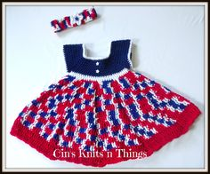 Baby Dress, Patriotic Baby Dress, Toddler Dress, Red White and Blue dress , 12 to 24 months - pinned by pin4etsy.com