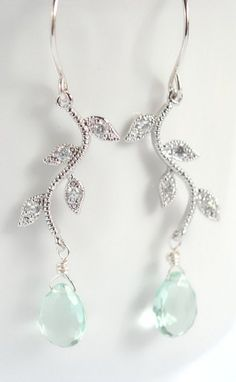 Mint earrings leaf earrings vine earrings