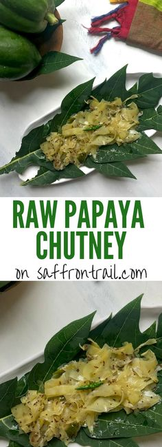 Try this Raw papaya chutney recipe to go with Gujarati snacks like Khaman and Khandvi, or as a condiment to be paired with any Indian meal. Raw papaya has many health benefits that you can get from this quick and easy recipe. Fried Fish Recipes, Veg Recipes, Indian Food Recipes, Vegetarian Recipes, Cooking Recipes, Papaya Recipes Indian, Quiche Recipes, Spicy Recipes, Sauces