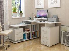 Desktop Computer Desk, Computer Desk Design, Study Room Decor, Bedroom Decor, Contener House, Table Furniture, Furniture Design, Ideas Habitaciones, Home Office Table