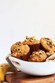 Start your morning off right with these deliciously spiced, walnut filled, and perfectly flaovred vegan Banana Nut Muffins