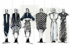 Fashion Sketchbook - graphic dress sketches; fashion drawings; fashion portfolio // Edward Fletcher