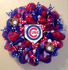 Chicago cubs baseball wreath cubs front door by WandNDesigns Chicago Cubs Gifts, Chicago Cubs Fans, Chicago Cubs Baseball, Pro Baseball, Baseball Season, Baseball Wreaths, Sports Wreaths, Baseball Crafts, Baseball Snacks