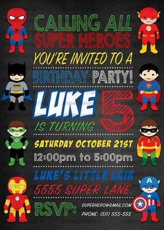 SUPERHERO Birthday Invitation Superhero Invite SuperHeroes