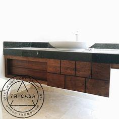 https://flic.kr/p/tFF9xe | Instalando mueble volado de baño. Fabricado en madera de #tzalam con calados decorativos en puertas corredizas. Diseño: Arq. L.Q. #tricasa #woodwork #group #excelenciaencarpinteria