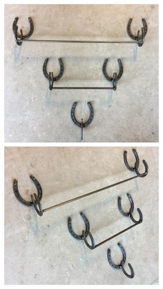 Welded horseshoe art bathroom towel racks or kitchen towel holder Welded horseshoe art bathroom towe Welding Art Projects, Welding Crafts, Metal Crafts, Diy Welding, Welding Ideas, Blacksmith Projects, Metal Projects, Diy Projects, Horseshoe Projects