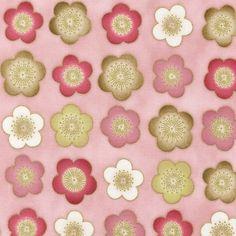 Pink and Brown Sakura fabric