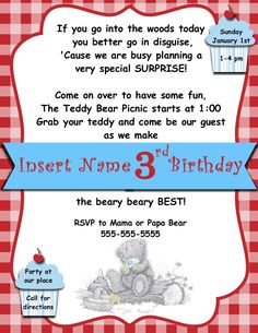 Free printable teddy bear picnic invites party picnic theme digital teddy bear picnic invitation template more filmwisefo